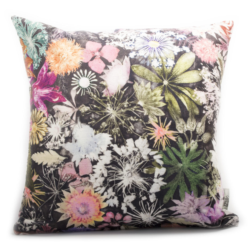 From Loft to loved - Gillian Arnold - 45cm velvet cushion - duck feather inner - Sedgefield, County Durham - Cascades of colour - green, yellow and orange floral