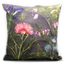 From Loft to loved - Gillian Arnold - 45cm velvet cushion - duck feather inner - Sedgefield, County Durham - Compassionate night - pink and grey botanical print