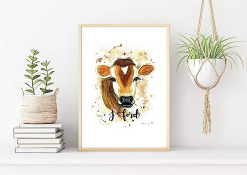 Cow Watercolour Print
