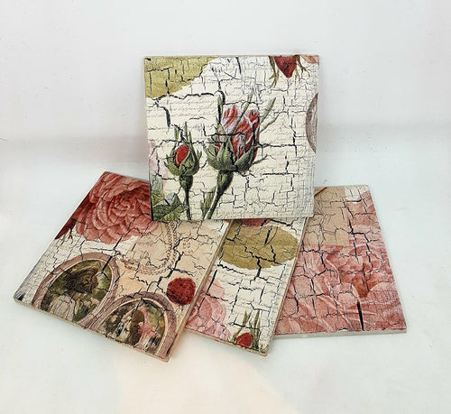 Vintage Style Decoupage and Crackle Glaze Coasters Workshop