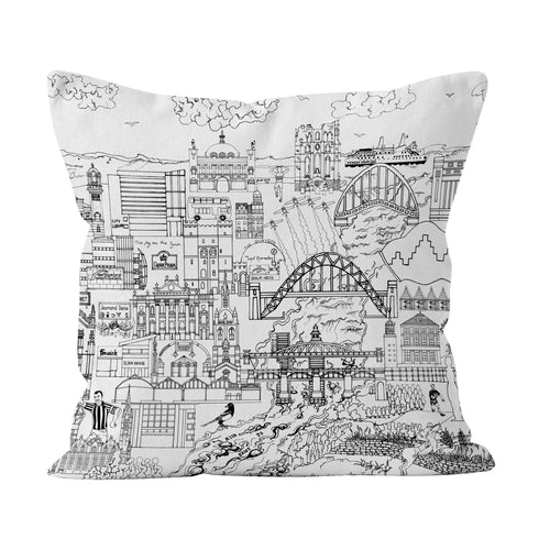 Newcastle Skyline in Black and White Soft Cushion