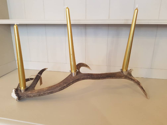 From Loft to Loved - red deer antler candelabra table centrepiece - recycled and repurposed scottish antlers - living and dining - entryway and hallway - candle holder - natural- home and gift - Sedgefield, County Durham