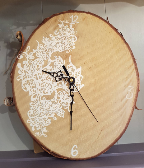 From Loft to Loved - Unusual Rustic Screenprinted Wooden Wall Clock - designer handmade unique wall clock - white wood - hallway - dining and living - kitchen - bespoke  - Sedgefield, County Durham - home and gift