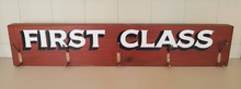 Large Rustic Wooden Wall Mounted 'First Class' Coat Rack