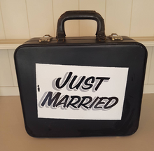 From Loft to Loved - Vintage Just Married Wedding Decorative Suitcase - keepsake storage - vintage wedding card display - anniversary - home and gift - black and white - bride and groom - mementos - Sedgefield, County Durham