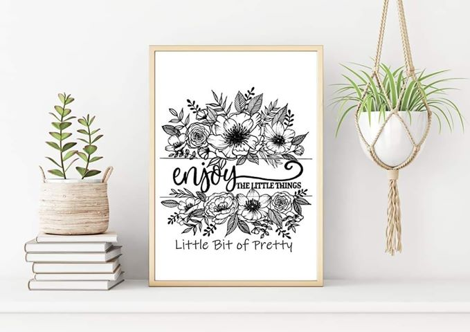 Enjoy the Little Things Black and White Print