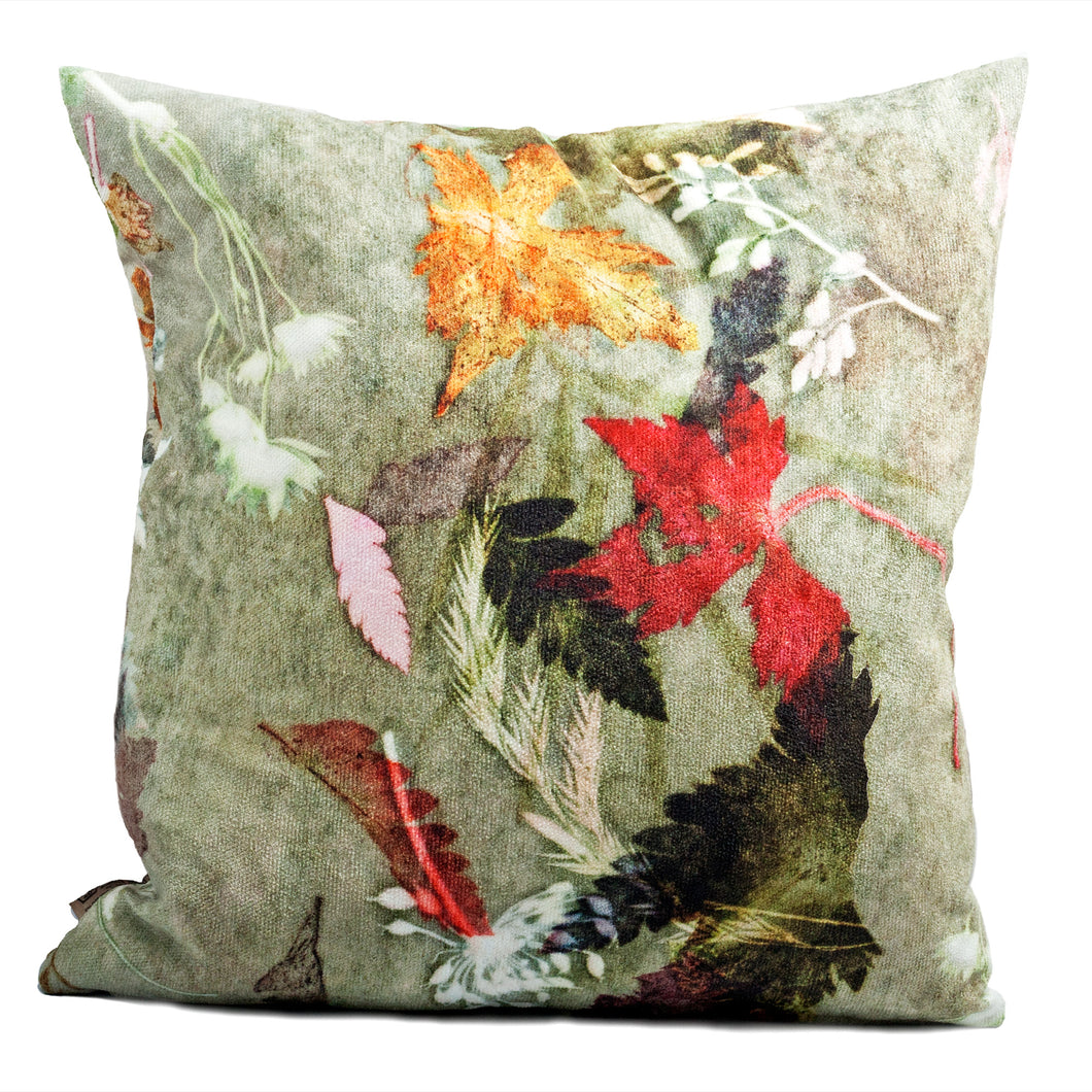 From Loft to loved - Gillian Arnold - 45cm velvet cushion - duck feather inner - Sedgefield, County Durham - Floral dance - brown and red leaves