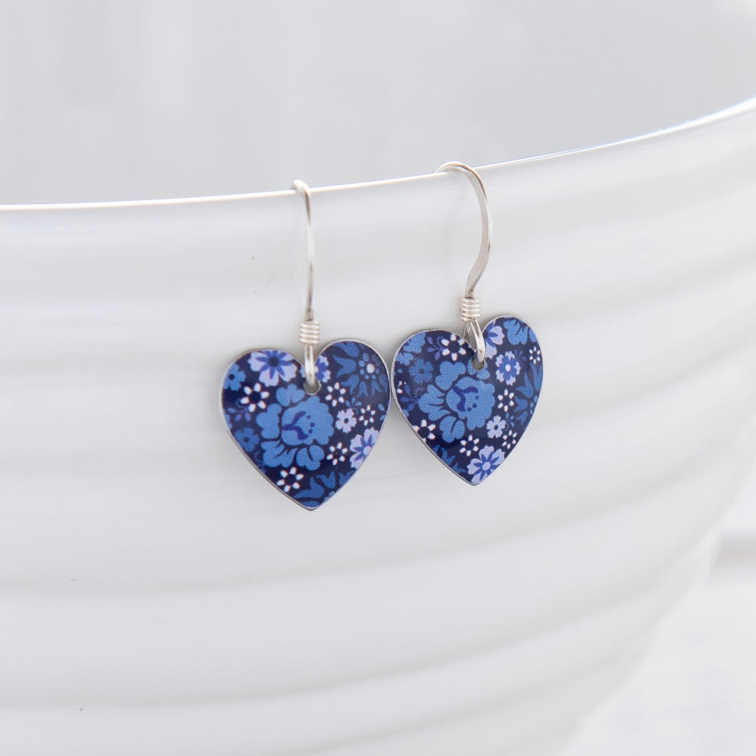 sweet forget-me-not aluminium heart on sterling silver drop earrings made from treasured tins