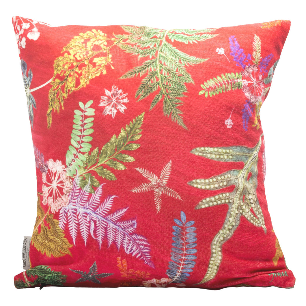 From Loft to loved - Gillian Arnold - 45cm velvet cushion - duck feather inner - Sedgefield, County Durham - Now that's something hot pink - green and hot pink botanical print