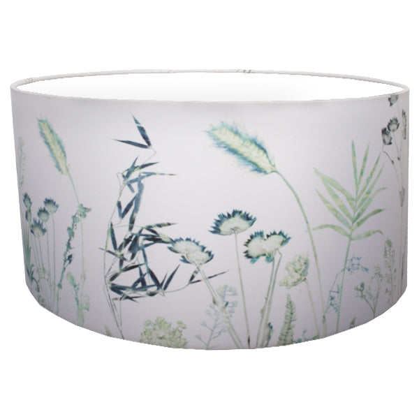 From Loft to loved - Gillian Arnold - drum shade for ceiling or table lamp - Sedgefield, County Durham - Hothouse Fronds - white and green