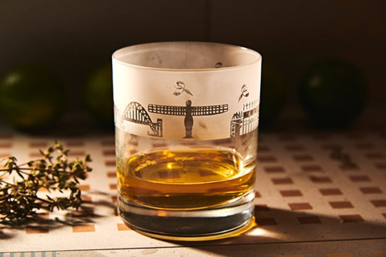 Silhouette Newcastle City Skyline Crystal Whisky Glass