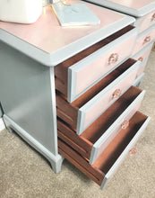Pair of Stag bedside tables in Grey and pink