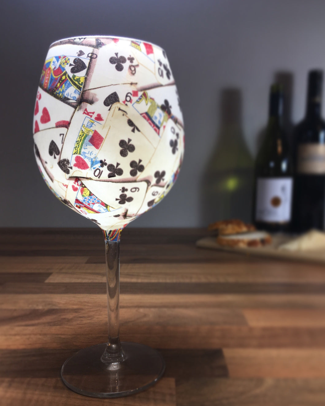 From Loft to Loved - gift for her - gift for women - gift for him - gift for men - playing card in white long stemmed large wine glass - handcrafted gift - decorative glass - unique drinker's gift - patterned wine glass - shop in Sedgefield County Durham