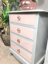 pink marble and grey bedside tables