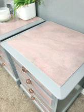 pink marble bedside cabinets