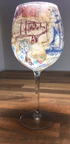 From Loft to Loved - gift for her - gift for women - naval nautical theme with vintage ships aeroplanes and compass long stemmed large wine glass - handcrafted gift - decorative glass - unique drinker's gift - patterned wine glass - shop in Sedgefield County Durham