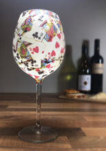 White Playing Card Long Stemmed Wine Glass