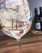 Naval/Nautical Long Stemmed Wine Glass with Vintage Ships and Aeroplanes