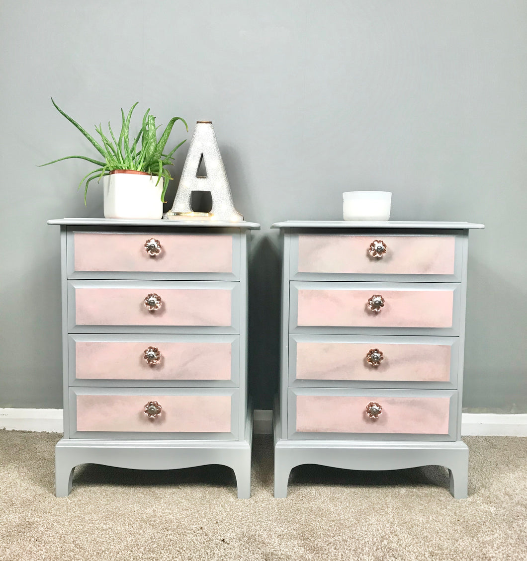 Pair of pink and grey bedside tables