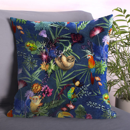 From Loft to loved - Gillian Arnold - 45cm velvet cushion - duck feather inner - Sedgefield, County Durham - Jungle surprise - tropical animal print