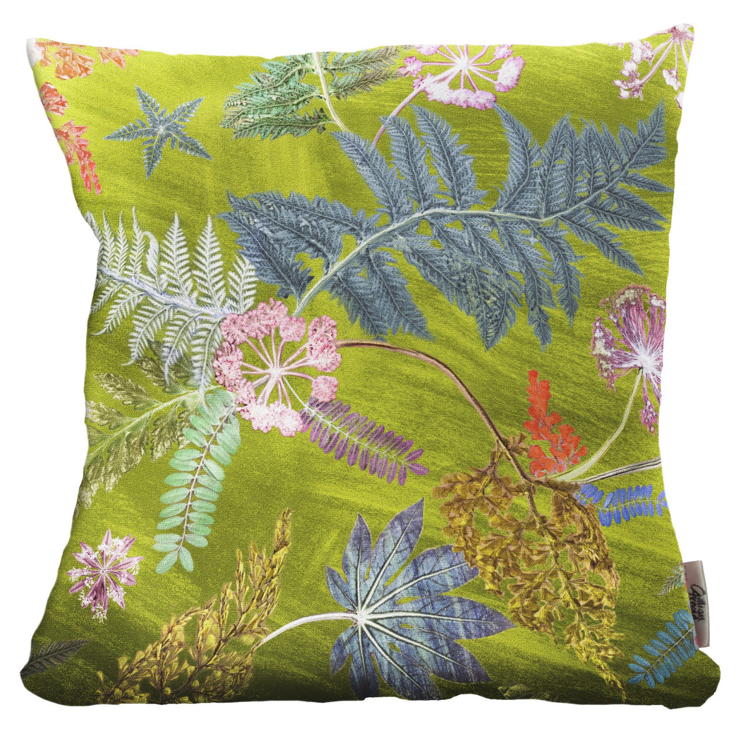 From Loft to loved - Gillian Arnold - 45cm velvet cushion - duck feather inner - Sedgefield, County Durham - Now that's something lime - lime green and pink botanical print