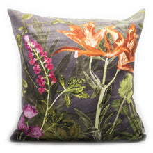 From Loft to loved - Gillian Arnold - 45cm velvet cushion - duck feather inner - Sedgefield, County Durham - Midnight bloom - pink and orange botanical print