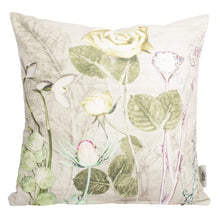 From Loft to loved - Gillian Arnold - 45cm velvet cushion - duck feather inner - Sedgefield, County Durham - Mother's silver bouquet - silver and green floral print