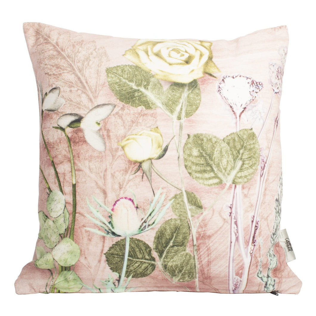 From Loft to loved - Gillian Arnold - 45cm velvet cushion - duck feather inner - Sedgefield, County Durham - Mother's pink bouquet - green and pink floral print
