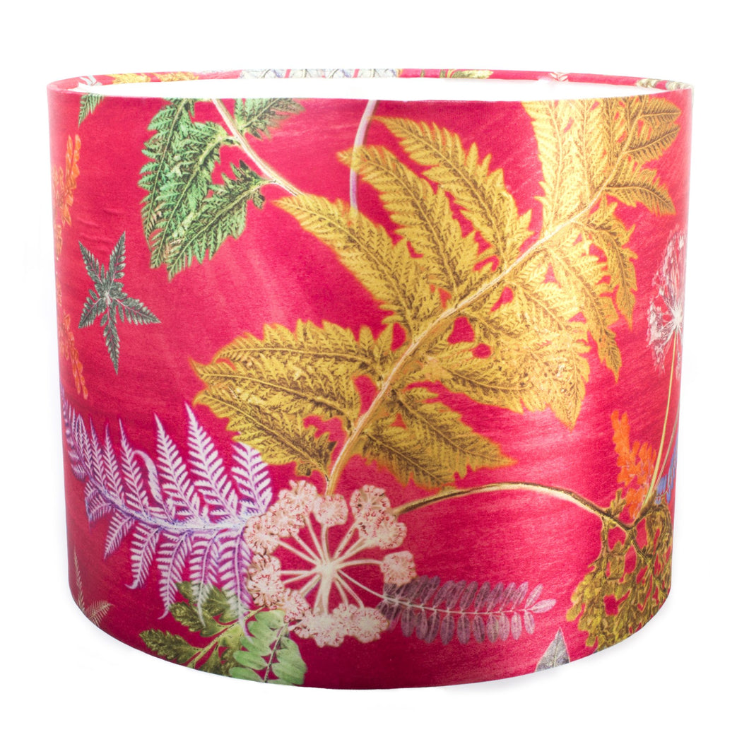 From Loft to loved - Gillian Arnold - drum shade for ceiling or table lamp - Sedgefield, County Durham - Now that's something hot pink - botanical print