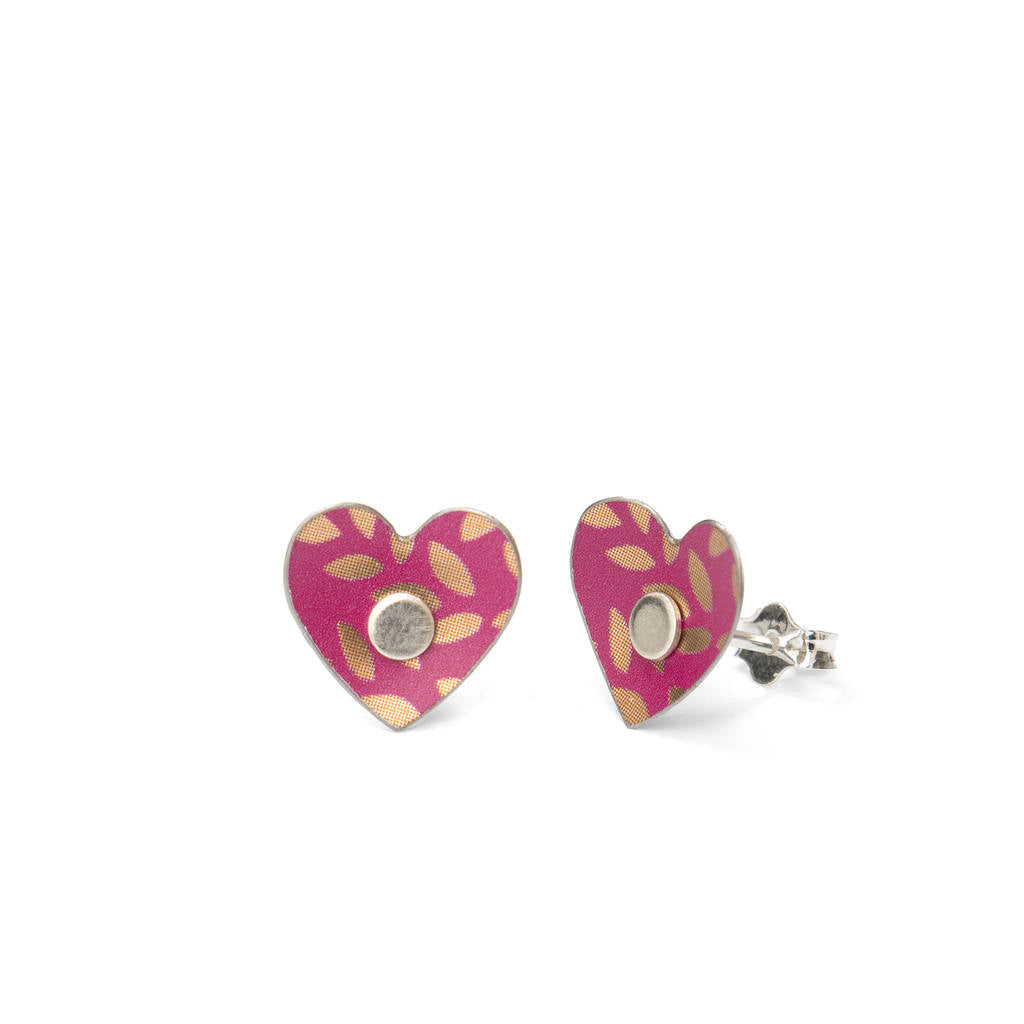 fuchsia pink and gold heart studs in a tin with sterling silver posts in a tin made from treasured tins
