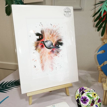 Ostrich Watercolour Print