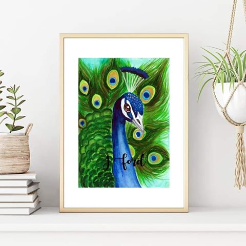 Peacock Watercolour Print