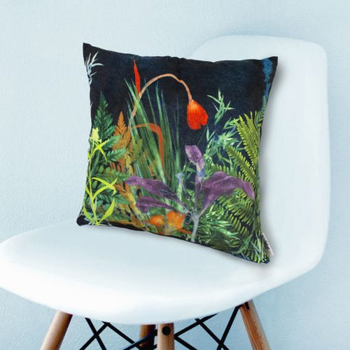 From Loft to loved - Gillian Arnold - 45cm velvet cushion - duck feather inner - Sedgefield, County Durham - Secret garden - dark floral print