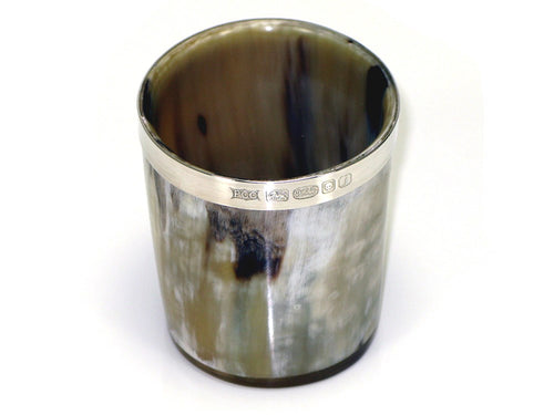 Silver banded Ox Horn Whiskey Tot - Polished Finish