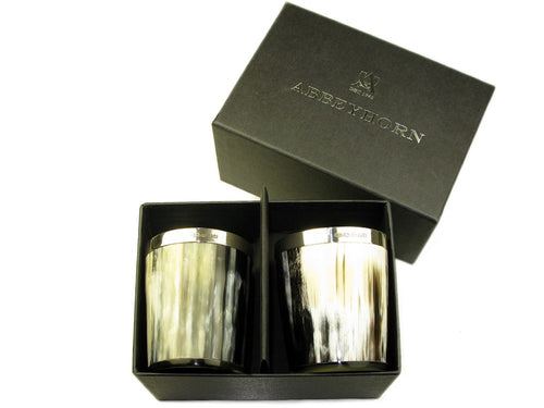 Set of two Silver banded Ox Horn Whiskey Tots, boxed - Polished Finish