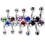 Stainless Steel Belly Bar Ring 10pcs Crystal Chic Double Gem Belly - Jack and Rose Fabulous Finds - JARFF