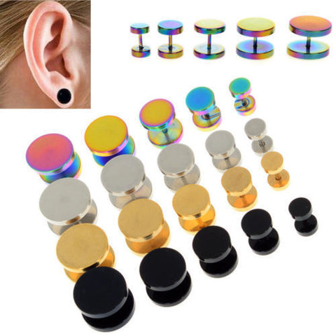 Gold Black Stainless Steel Cheater Faux Ear Plugs Flesh Tunnel - Jack and Rose Fabulous Finds - JARFF
