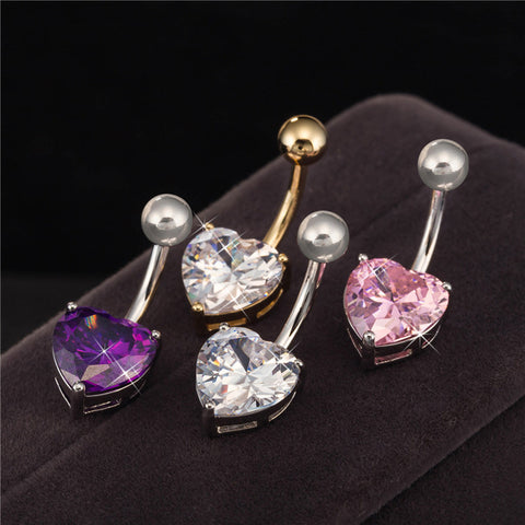 Body Piercing Jewelry Gold White Gold Color Heart Zircon Cubic Barbell - Jack and Rose Fabulous Finds - JARFF