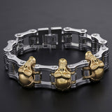 Boys Mens Chain Skull Black Gold Silver Tone Biker Motorcycle - Jack and Rose Fabulous Finds - JARFF
