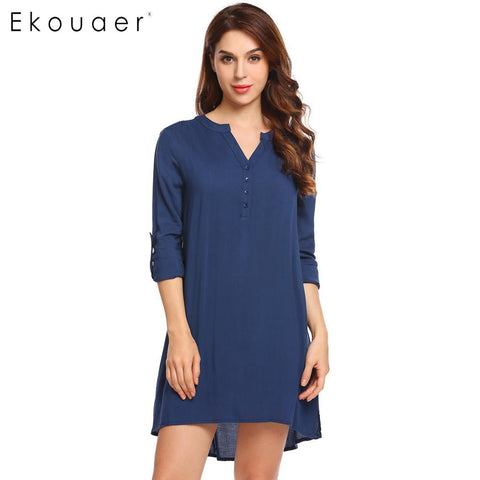 Ekouaer Button Adjustable Long Sleeve V-Neck Solid Women Nighties - Jack and Rose Fabulous Finds - JARFF