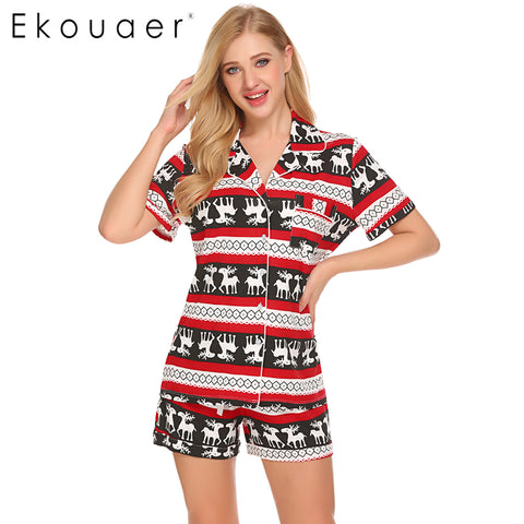 Ekouaer Casual Pajama Sets Women Sleepwear Solid Tops Shorts Set Simple Lounge - Jack and Rose Fabulous Finds - JARFF