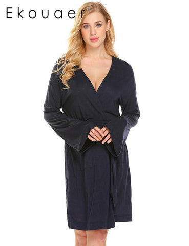 Ekouaer Comfort Long Sleeve Hollow Jacquard Women Kimono Spa Bathrobe - Jack and Rose Fabulous Finds - JARFF