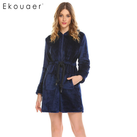 Ekouaer Drawstring Casual Hooded Long Sleeve Waist Women Zipper Winter - Jack and Rose Fabulous Finds - JARFF