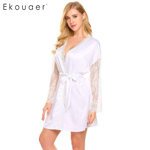 Ekouaer Kimono Comfort Sleepwear Long Sleeve Lace Trim Short Satin Bridal Women Robe - Jack and Rose Fabulous Finds - JARFF