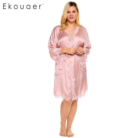 Ekouaer Kimono Lace Satin Women's Robe Long Sleeve Belted Sleepwear Plus Size - Jack and Rose Fabulous Finds - JARFF
