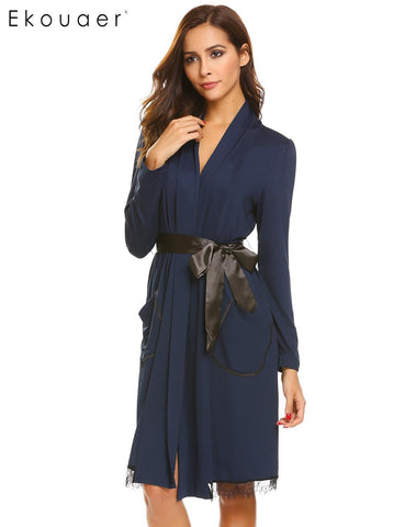 Ekouaer Lace-trimmed Long Sleeve Pockets Women Sleepwear Robe with Belt - Jack and Rose Fabulous Finds - JARFF