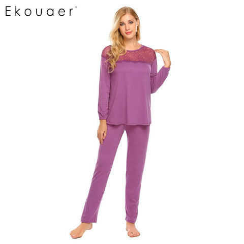 Ekouaer Long Casual O Neck Women Sleeve Lace Patchwork Solid Loose Pajamas Sets Suit - Jack and Rose Fabulous Finds - JARFF