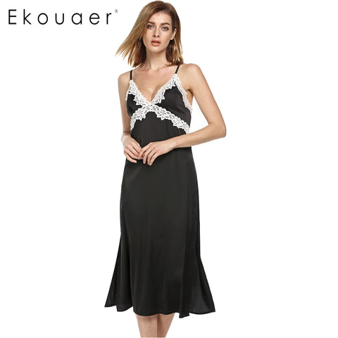 Ekouaer Long Nightgown Women Satin Sexy Lace Sleepwear - Jack and Rose Fabulous Finds - JARFF