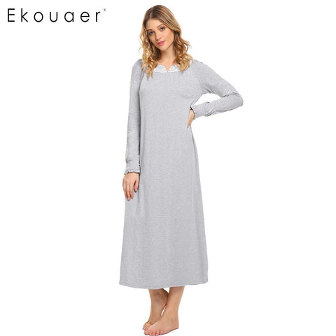 Ekouaer Long Vintage Nightgowns Women Sleepwear Dress Casual Long Sleeve V Neck Lace - Jack and Rose Fabulous Finds - JARFF