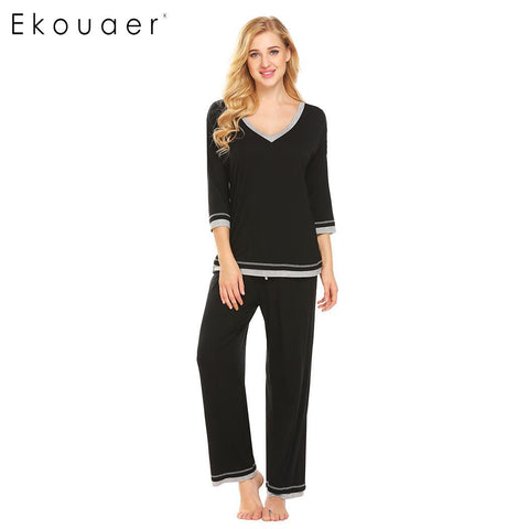 Ekouaer Pajama Set Women Soft V-Neck 3/4 Sleeve Patchwork Loose T-Shirt and Long Pants Sleepwear - Jack and Rose Fabulous Finds - JARFF